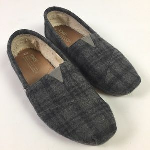 Toms Womens Slip On Shoes Gray Wool Plaid Size 9